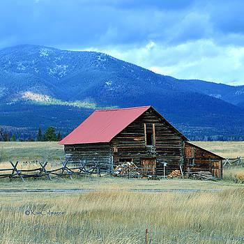 Kae Cheatham - Ranch Building and Mountain Range