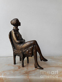 Realistic Sculpture, Classic Statue of a Seated Young Woman by Nikola Litchkov