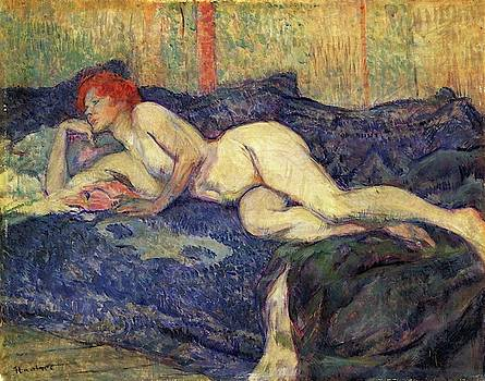 Reclining Nude - 1897 - The Barnes Foundation - Painting - oil on cardboard by Henri de Toulouse-Lautrec