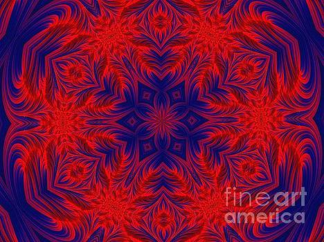 Rose Santuci-Sofranko - Red and Blue Hearts and Flowers Fractal Mandala Abstract