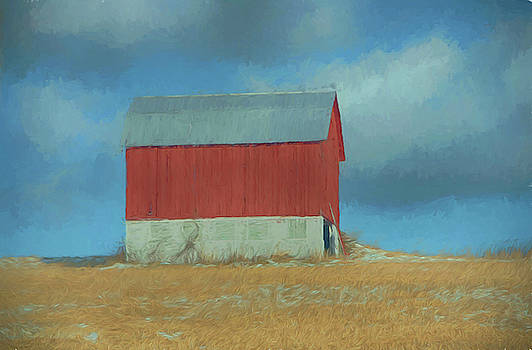 Red and White barn in winter by Alan Goldberg
