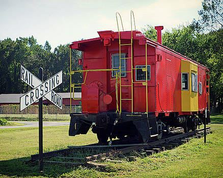 Red and Yellow Caboose at Nassawadox by Bill Swartwout Fine Art Photography
