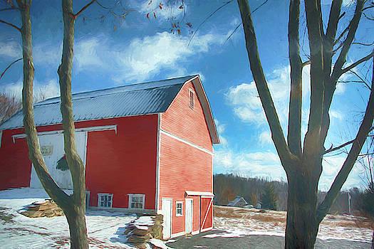 Red Barn in snow by Alan Goldberg