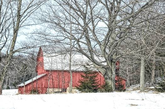 Red Barn in Winter by Toni Abdnour