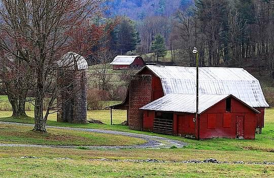 Red Barns In Winter by Carol Montoya