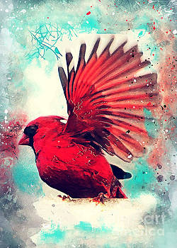 Red bird by Justyna Jaszke JBJart
