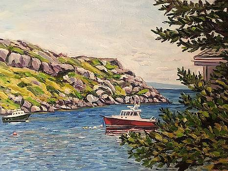 Red Boat off Monhegan Island by Richard Nowak