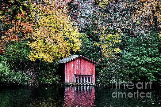 Red Boathouse by Anita Faye