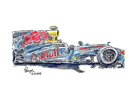 Frank Ramspott - Red Bull RB6 F1 Racecar Ink Drawing and Watercolor