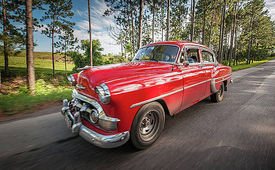 Red Classic Cuban Car by Mark Duehmig