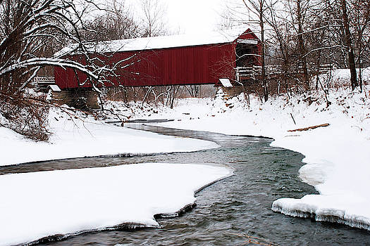 Red Covered Bridge Over Bureau Creek by Jayson Tuntland