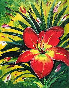 Red Daylily by Roseann Amaranto