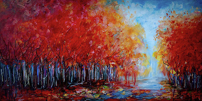 Red Fall Forest  by OLena Art - Lena Owens