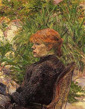 Red Haired Woman Seated in the Garden of M. Forest - 1889 - PC - Painting - oil on canvas by Henri de Toulouse-Lautrec