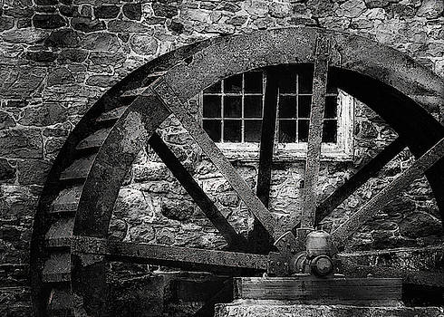 Red Mill Water Wheel  B and W by Jeff Watts
