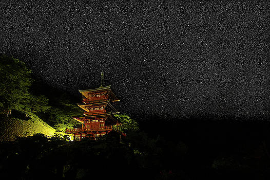 Red Pagoda under stars by Nate Richards