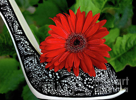 Red Passion Flower Shoe by Sherry Little Fawn Schuessler