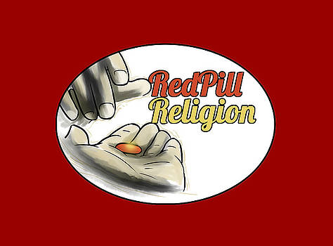 Red Pill Religion logo on red by Slawomiro