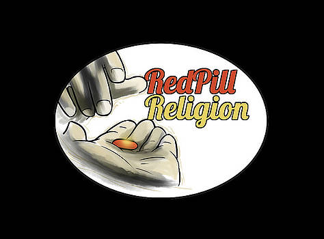 Red Pill Religion logo on black by Slawomiro