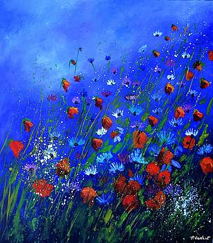 Red Poppies Ab Blue Cornflowers by Pol Ledent