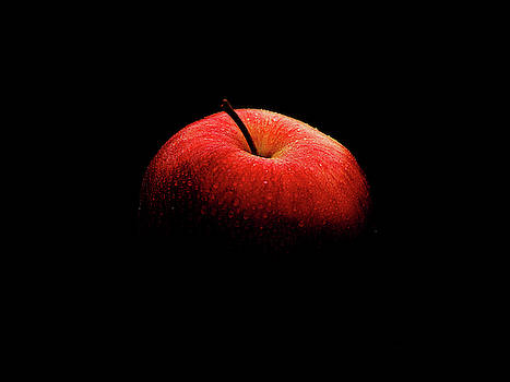 Red ripe apple with water drops. The apple disappears on a black by Sergei Dolgov