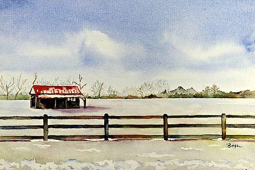 Red-roofed Barn on a Snowy Day by Beth Fontenot