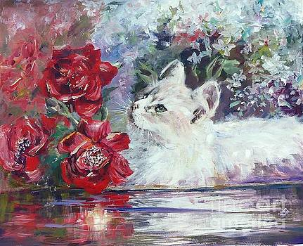Red roses and white cat by Ryn Shell