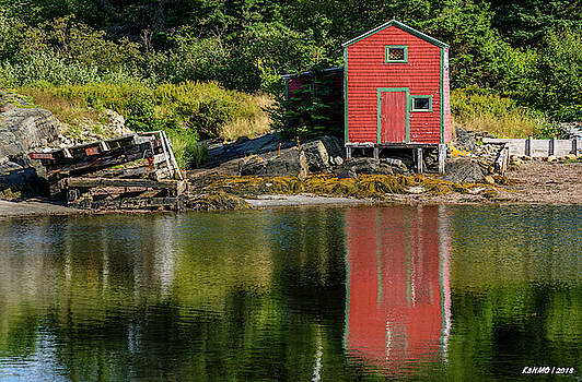 Red Shed Reflecting by Ken Morris