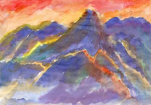 Red sunset in the mountains by Irina Dobrotsvet