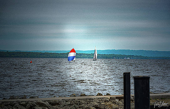 Red White And Blue Sailboat  by Phil S Addis
