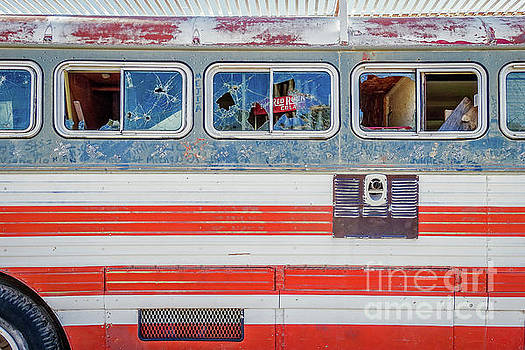 Red White and Blue USA Flag Painted Bus by Wendy Fielding