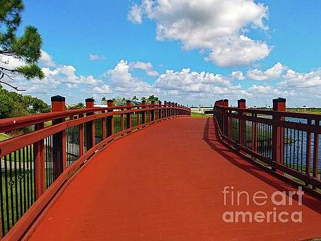 Red Wooden Bridge Under A Sunny Blue Sky by Gary Wonning
