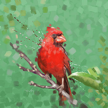 Redbird on Branch by Steven Thomas Rouse