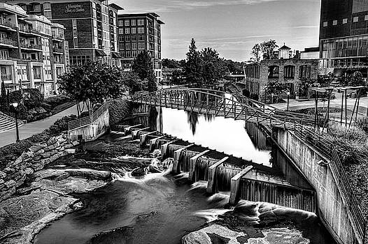 Reedy River In Downtown Greenville SC Black And White by Carol Montoya