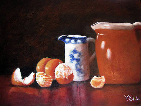 Reflections of Oranges and Pottery by Virginia Nickle