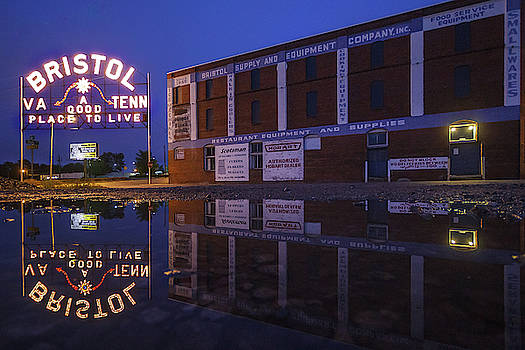 Reflections of the Bristol Sign and Interstate Hardware Building by Greg Booher