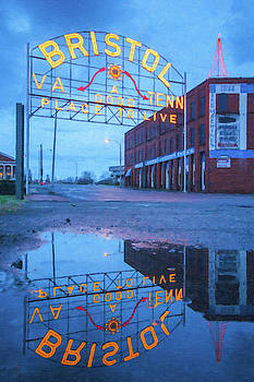 Reflections of the Bristol Sign at Christmas by Greg Booher