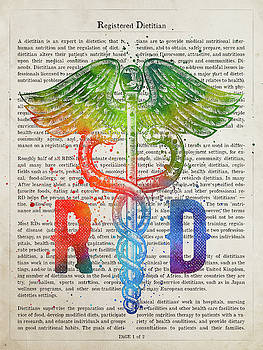 Registered Dietitian Gift Idea With Caduceus Illustration 03 by Aged Pixel