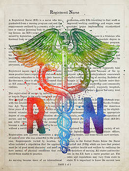 Registered Nurse Gift Idea With Caduceus Illustration 03 by Aged Pixel