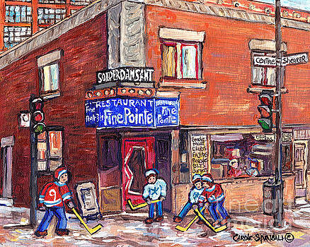 Restaurant A La Fine Pointe Psc Centre And Shearer Winter Street Verdun Montreal Hockey C Spandau by Carole Spandau