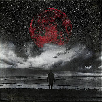 Retreat - Surreal Seascape With Red Moon by Dirk Wuestenhagen