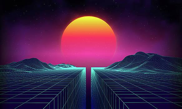 Retro Background Futuristic Landscape by Damiengeso