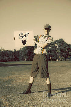 Retro Golfer Holding Golf Love Sign by Jorgo Photography - Wall Art Gallery