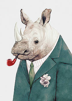 Rhino in Teal by Animal Crew