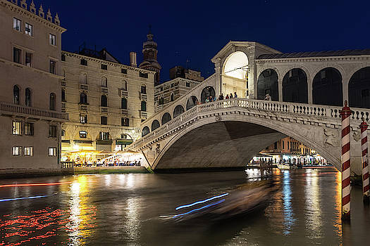 Rialto Bridge Midnight - Slow Mo Boats Light Trails by Georgia Mizuleva