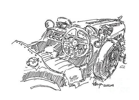 Frank Ramspott - Riley 12/4 Sport Special Classic Car Ink Drawing