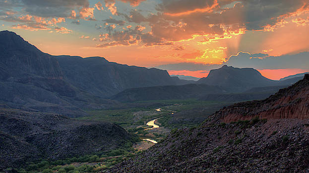 Rio Grande River Sunset by Harriet Feagin