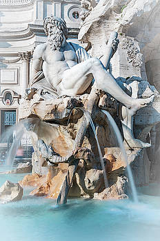 River Ganges God Fountain of Four Rivers Rome Italy by Joan Carroll