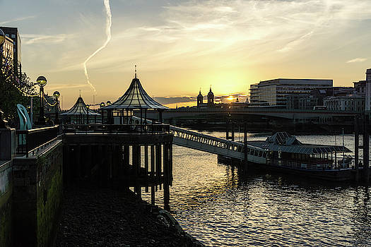 River Thames Glossy Sunset - London Bridge City Pier Ferry Terminal Southwark London UK by Georgia Mizuleva
