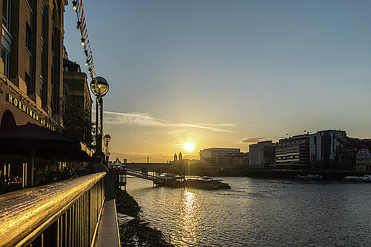 River Thames Glossy Sunset - Southwark London UK by Georgia Mizuleva